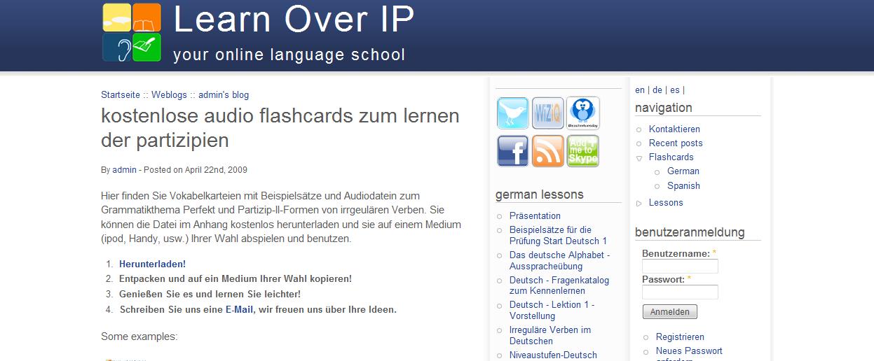 Kostenlose Audio Flashcards zum Lernen der Partizipien  Learn Over IP