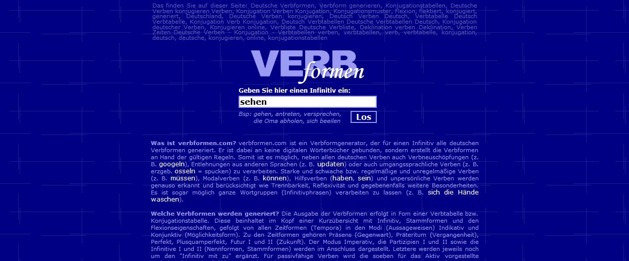 Deutsche Verben - Konjugation - Verbtabellen