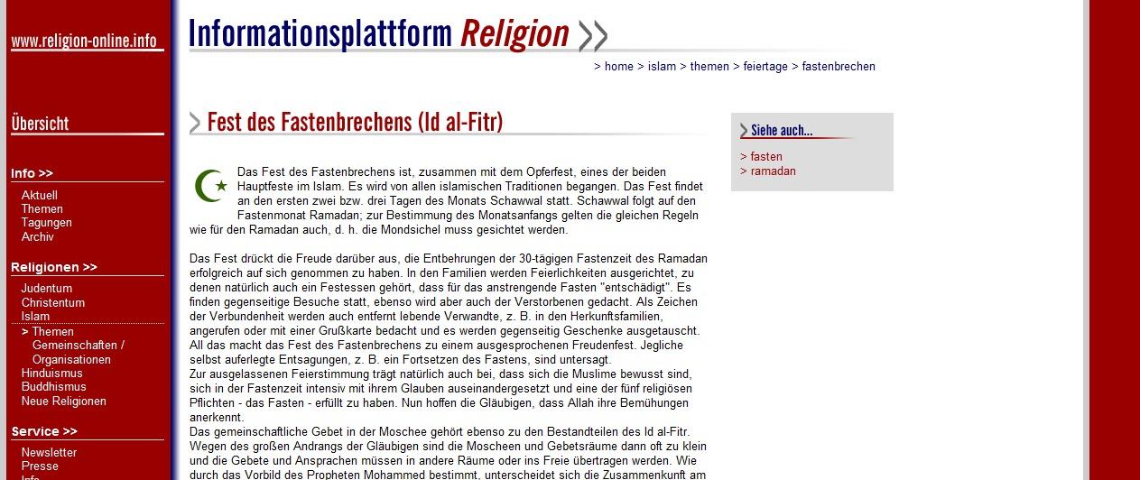 Fest des Fastenbrechens - Feiertag im Islam  Informationsplattform Religion
