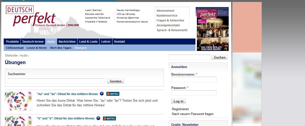 Übungen  Deutsch Perfekt online